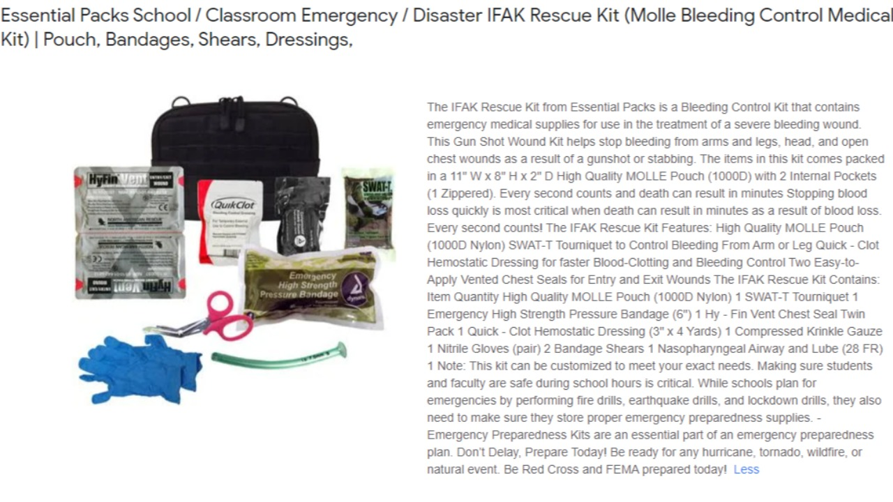 Charter School Essential / Classroom Emergency or Disaster: Rescue Kit